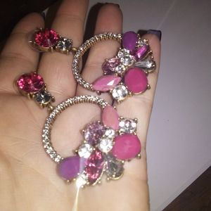 Pair of pink and purple stoned fashion earrings